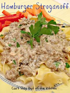 Hamburger Stroganoff | Can't Stay Out of the Kitchen | wonderful, kid-friendly #maindish meal that's quick and easy. #groundbeef #stroganoff #noodles #pasta