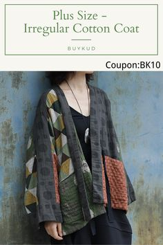 Kimono Fashion, Diy Fashion, Fashion Outfits, Fashion Trends, Denim Crafts, Cotton Jacket, Cotton Style, Shibori, Textiles