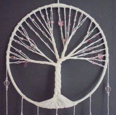 Dream catcher rose, tree of life, pink dreamcatcher, jewel of interior, pl … - Magnet Mode City Crafts To Make And Sell, Diy And Crafts, Arts And Crafts, Diy Dream Catcher For Kids, Dreams Catcher, Diy Vintage, Closet Designs, String Art, Decoration