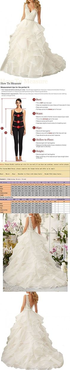 Beauty Bridal Sexy V Neck 2016 Ruffles Organza Wedding Dresses for Bride Gown(18W,White)