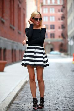 Striped Number by Brooklyn Blonde :: Skirt: Robert Rodriguez | Top: ASOS | Shoes: Brian Atwood | Clutch: Saint Laurent