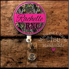 pink and camo..Retractable badge holder, nurse gift, ob, L&D, id holder, reel, RN, LPN, CNA