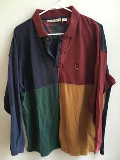 vintage bugle boy color block rugby style shirt / extra by seavoid