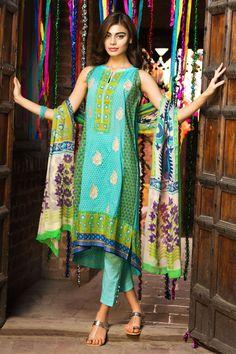 Khaadi - F15206B (GREEN) - Unstitched - Woman lawn salwar kameez