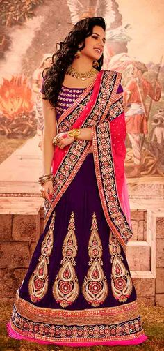Attractive Voilet and Fuchsia Bridal Lehenga Saree | NalluCollection.com