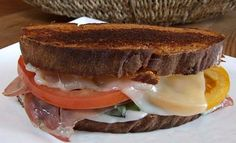 Recipe for an Italian version of a grilled cheese sandwich. Photograph included.