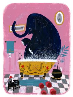 illustration by Ellen Surrey of an elephant having a bath in his bathroom Elephant Illustration, Children's Book Illustration, Graphic Design Illustration, Elephant Love, Elephant Art, Indian Paintings, Abstract Paintings, Art Paintings, Whimsical Art