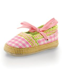 Another great find on #zulily! Pink & Green Checker Ribbon Shoe by Twinkie #zulilyfinds