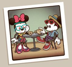 """Created by artist Jerrod Maruyama, """"Hipster Mickey"""" sees Mickey's timeless appeal given a contemporary makeover for the WonderGround Gallery in the Downtown Disney District (Anaheim, CA), also. Downtown Disney, Walt Disney, Disney Amor, Cute Disney, Disney Magic, Disney Mickey, Disney Pixar, Disney Characters, Hipster Disney"""