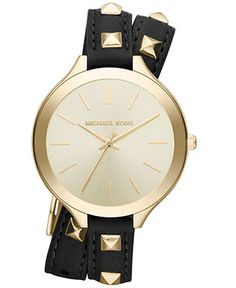 Michael Kors Watch, Women's Slim Runway Gold-Tone Stainless Steel and Black Leather Double Wrap Strap 42mm MK2317 - Women's Watches - Jewelr...