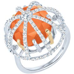 Women's Silver Ring by Arya Esha Cage Carnelian and Diamond Ring ($1,335) ❤ liked on Polyvore featuring jewelry, rings, red, cage ring, red diamond ring, 18k ring, red jewelry and diamond jewellery