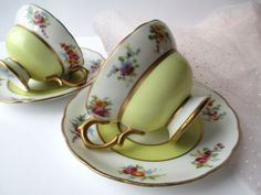 Vintage BJ Yellow Pink Floral Teacup & Saucer Pair by jenscloset