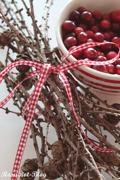 Cranberries and twigs.....the checked ribbon around the twigs gives it that special tweek!!!!  Love it!