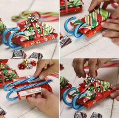weihnachtsgeschenke basteln mit kindern in der schule süßigkeiten schlitten zuckerstangen einfach