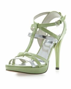 Almost+Patent+Strappy+Sandal,+Salad+by+Stuart+Weitzman+at+Neiman+Marcus+Last+Call.
