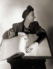 """Horst, Horst P.  Edith Sitwell  New York 1948  frequently photographed bristling with gigantic aquamarine rings-- at least two to a finger, and plastered with vast brooches of semi-precious stones"""""""