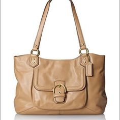 Coach: Tan Campbell Leather Belle Carryall Excellent condition inside/outside. Only used a few times. Handbag features a luxurious, soft leather exterior and gold hardware for structured, classy appeal. There is a large, buckle closure front pocket, double shoulder straps, and a magnetic snap closure to the main compartment. Inside the main compartment there is a roomy middle zipper as well as inner zip and slide pockets. Does not come with the long shoulder strap (misplaced it - sorry!)…