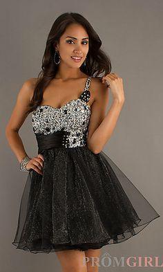 Prom Dresses, Celebrity Dresses, Sexy Evening Gowns at PromGirl: Short Embellished One Shoulder Dress