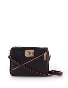 99081dd665bf WOMEN S SAFFIANO DIAGONAL ZIP CROSS BODY BAG BLACK BAG  USPoloAssn   MessengerCrossBody