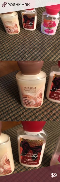 3 oz Bath & Body Works Lotion 3 oz used Bath & Body Works lotion. Scents, warm vanilla sugar , a thousand wishes and sweet pea...., selling as a unit paid $5.00 each selling for $9.00 Bath & Body Works Other