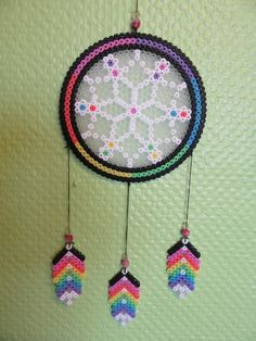 Dreamcatcher hama beads by Dissing's Melty Bead Patterns, Pearler Bead Patterns, Perler Patterns, Beading Patterns, Perler Bead Templates, Hama Beads Design, Peler Beads, Deco Boheme, Iron Beads