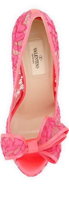 FashionShoes   ShoeAddict    Rosamaria G Frangini    Valentino Pink Lace Shoes