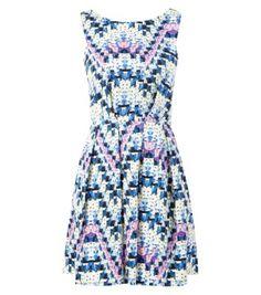 Closet Blue V Back Geo Floral Print Skater Dress