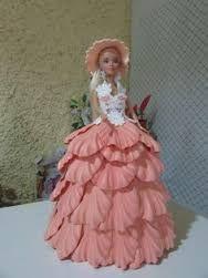 Resultado de imagen de barbie vestido con goma eva