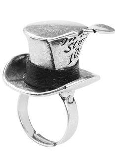 """Anello """"Alice In Wonderland Mad Hatter"""" della collezione #DisneyCouture in metallo (senza nickel) placcato oro bianco 14 carati. l.: 35 mm."""