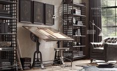 Industrial Office 1910 American Trestle Drafting Table from Restoration Hardware Style At Home, Restoration Hardware Catalog, Industrial House, French Industrial Decor, Industrial Workspace, Industrial Office Design, Industrial Hardware, Industrial Style, Interior And Exterior