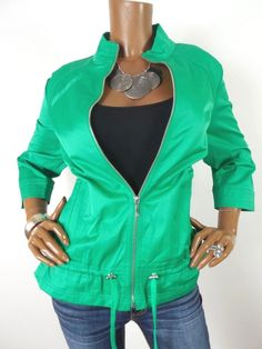 9faee0082f881b Casual Tops · CHICO S Sz 2 Womens Top M L Zip Front Jacket Green Shirt  Stretch 3 4 Sleeves