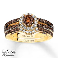 Amazing LeVian Chocolate Diamonds 1 1/3 Ct Tw Bridal Set 14K Gold