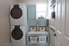 This laundry room is a small walk-through to the garage, but by stacking the washer and dryer and crafting their own cabinets/shelves, the space becomes much more functional!