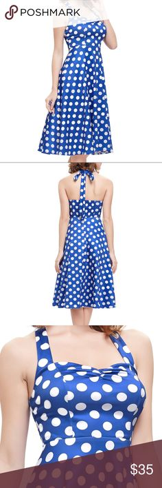 amazing blue polka dot halter dress vintage style Halter / tie in back beautiful royal blue with white polka dots New with tags Dresses Midi