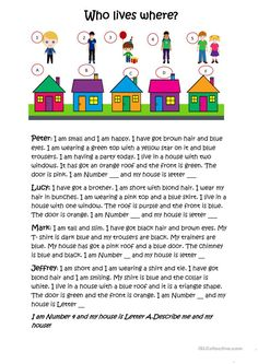 Who lives in which house? worksheet - Free ESL printable worksheets made by teachers