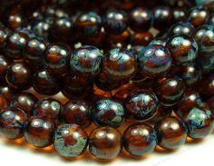 6mm+Dark+Amber+Brown+Picasso+Czech+Glass+Beads++by+BlackrockBeads