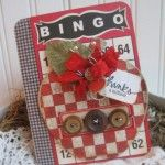 Tell teacher thanks for a great year.large card covered in gingham and a large bingo card to look similiar to an old fashion essay journal, chipboard covered apple with vintage dennison label, wood vintage buttons, twine, burlap leaf and Teacher Cards, Teacher Gifts, Valentine Day Cards, Valentines, Bingo Board, Cherries Jubilee, Shabby Chic Cards, Card Tags, Vintage Buttons
