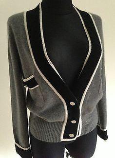 CHANEL Strick Cardigan Pullover 100% Cashmere Wenig getragen neuwertig Gr 40
