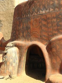 Africa | Gourounsi Painted House And Sacrificial Altar In Tiébelé.  Burkino Faso