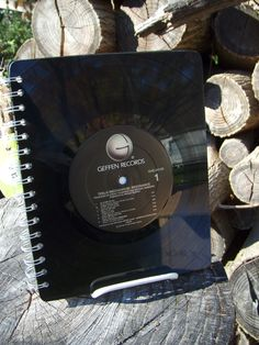 Repurposed vinyl record notebook.