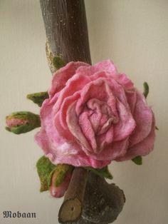 Blüte aus Filz Rose rosa von Mobaan auf Etsy