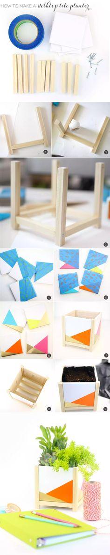 Ingeniosa maceta de escritorio con cerámica pintada / Via www.damasklove.com