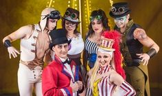 An animal-free, family-friendly cast of aerialists, acrobats, and clowns sings, dances, and performs tricks in a steampunk-inspired circus