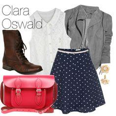 Clara Oswald from Doctor Who Doctor Who Outfits, Fandom Outfits, Fandom Fashion, Geek Fashion, Womens Fashion, Clara Oswald Fashion, Polyvore Outfits, Moda Disney, Gamine Style