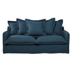 Canapé 3 places en lin lavé bleu Deco Pinterest