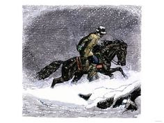 Pony Express Rider in a Snowstorm Giclee Print