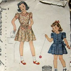 Vintage Girls Dress Pattern With 2 Neckline Styles circa 1940 Simplicity 1095…