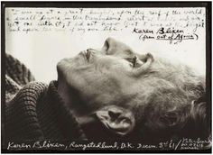 """Karen Blixen by Peter Beard (1962) - In an interview, receiving the Nobel Prize, Ernest Hemingway said, """"As a Nobel Prize winner I cannot but regret that the award was never given to Mark Twain, nor to Henry James, speaking only of my own countrymen. Greater writers than these also did not receive  the prize. I would have been happy--happier--today if the prize had been given to that beautiful writer Isak Dinesen. . . ."""""""
