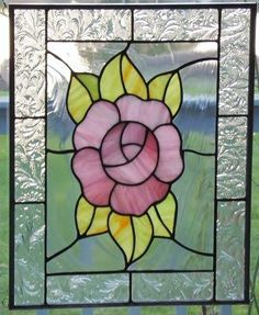 Stained glass panel pink rose stained glass window - make the rose smaller for the square window? Stained Glass Quilt, Stained Glass Flowers, Stained Glass Crafts, Faux Stained Glass, Stained Glass Designs, Stained Glass Panels, Stained Glass Patterns, Leaded Glass, Mosaic Art