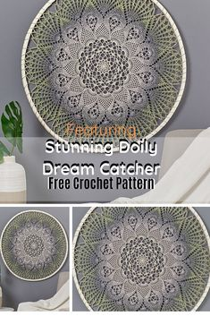 Make yourself a uniquely stylish doily dream catcher wall hanging with this wonderful free crochet pattern! Stunning Doily Dream Catcher by Julia Hart is made of just one ball of It's a Wrap… Crochet Dreamcatcher Pattern Free, Crochet Mandala Pattern, Crochet Patterns, Crochet Ideas, Crochet Projects, Diy Projects, Crochet Wall Art, Crochet Wall Hangings, Crochet Home Decor